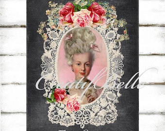 Chalkboard Vintage Marie Antoinette in Lace Frame and Roses Large Instant Digital Download Printable French Lady Art Graphic Transfer