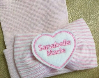 Exclusive Newborn Hospital Hat Monogrammed Brand New... PERSONALIZED! Bow with Name! 1st Keepsake!