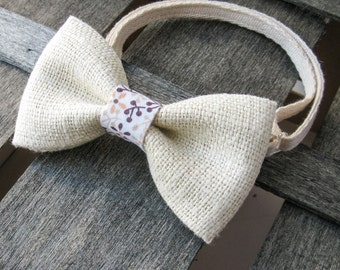 Milk Burlap Men's bowtie. Wedding bowtie. Boys bowtie. Kids bowtie. Newborn bowtie. Gift. Photo shoot