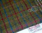 HARRIS TWEED FABRIC 100% pure virgin wool & authenticity labels Green Plum Blue Tartan Various Sizes