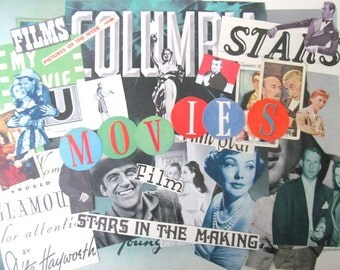 Vintage movies ephemera pack: 40 paper pictues, die cuts, book pages. Embellishments for scrapbooks, smash book, collage, journals. EP344