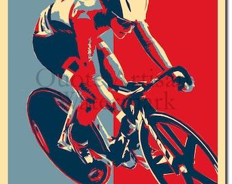 "Cycling ""HOPE"" Original Art Print - Photo Poster Gift"
