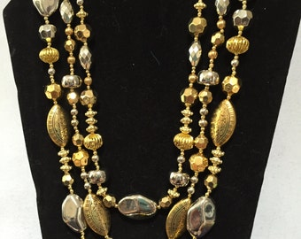 Silver and Gold 3 Strand Necklace