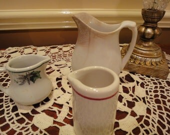 TwoVintage Pitchers/Two Vintage Cream Pitchers/Shenango China/Small Creamers/Vintage Old Style Creamers/Vintage Small Cream Pitchers/Creamer