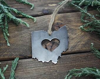 FREE SHIPPING: Love Ohio Rustic Steel Heart Ornament
