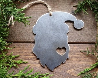 Santa Christmas Ornament Love Rustic Metal Heart Christmas Tree Ornament Holiday Gift Industrial Decor Wedding Favor By BE Creations