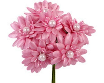 6 Pcs Daisy Pink Fabric Flower Bouquet Flowers Supplies Wedding Artificial Flower Silk Flower Gerbera Daisy