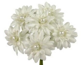 6 Pcs Daisy Ivory Fabric Flower Bouquet Flowers Supplies Wedding Artificial Flower Silk Flower Gerbera Daisy