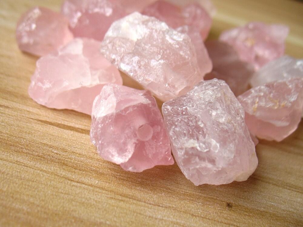 Raw Rough Natural Rose Quartz Crystal Beads Pink Crystal