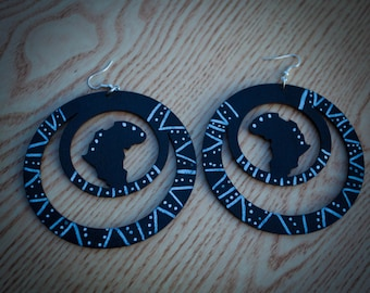 Mudcloth Circle Africa Earrings