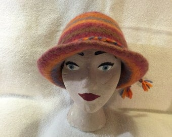 Multi-colored stripped 100% wool felted hat with cord