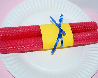 two 100% pure Beeswax candles - Handrolled beeswax candles - honey comb taper beeswax candles - hand-rolled - 8''