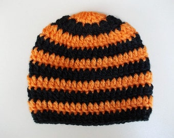Crochet baby boy hat Newborn boy hat Winter baby hat Striped boy hat Black orange hat Newborn winter hat Boy hospital hat Newborn boy outfit