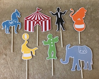 Carnival Centerpieces set of 7. Birthday, Baby Shower. lion,elephant,horse,seal.magician,clown, carnival tent.