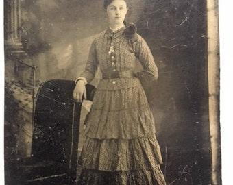 Young Woman in Ruffles Tintype