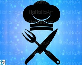 Chef Hat Knife and Kitchen Fork - Cutting Files Svg Png Jpg Eps Dxf Digital Graphic Design Instant Download Commercial Use Shirt (00662c)