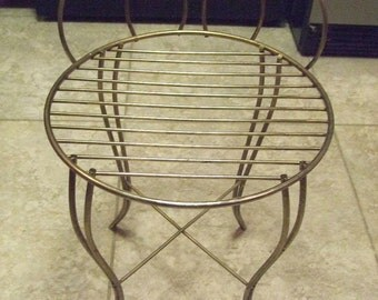Vintage Antique Childs Childrens Gold Tone Ice Cream Or Parlor Chair Stool Round Seat 16 In High Welded Metal Rod Sturdy Looped Back Unique