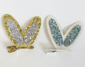 Glitter Bunny Ear Hair Bow Clip Barrette, Bunny Ear Barrette, Sparkle Bunny Ear Clip