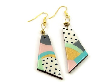geometric earring - unique gifts for her - mid century modern - abstract earring - retro 80s earrings - colorful jewelry - Art Deco