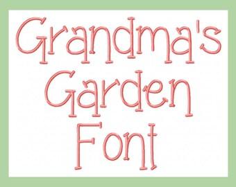 Grandma's Garden Machine Embroidery Font
