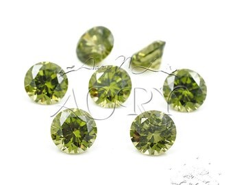1pcs AAAAA 6mm Olive Cubic Zirconia, Diamond Cut, Round Shape, Thickness 3.9mm, Faceted CZ, Brilliant/Diamond Cut, Olive Color CZ, SA12R