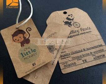 500 custom kraft tags, kraft hang tags, brown hang tags, brown tags