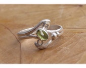 Peridot Assymetric Ring with Double Half Round Band in Sterling Silver.  Unique Handmade Ring for her, August birthstone