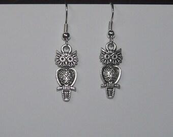Beautiful Tibetan silver Owl on Branch Themed Earrings