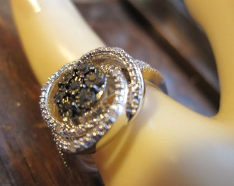 Handcrafted Designer .20ctw Genuine Old Cut Black & White Diamond Sterling Silver Spiral Ring Size 7, Wt. 4g