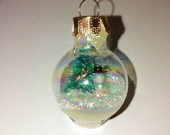 Mini snowman snowglobe ornament - handmade