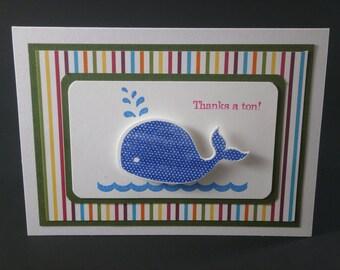 Whale Thank You card, Thanks a Ton Whale card