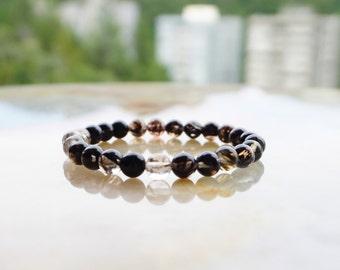 Smoky Quartz Bracelet,Unisex Jewelry,Beaded Bracelet,Gemstone Bracelet,Quartz Bracelet, Beaded Jewelry