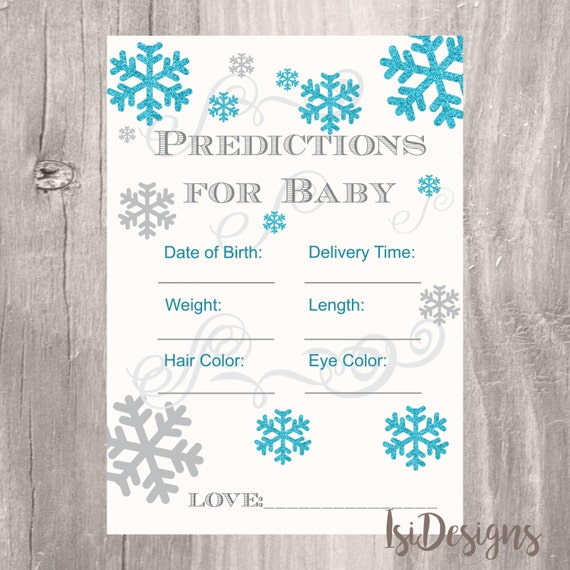 snowflake winter baby shower baby prediction card printable blue