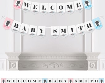 Gender Reveal - Bunting Banner - Personalized Baby Shower Party Decorations