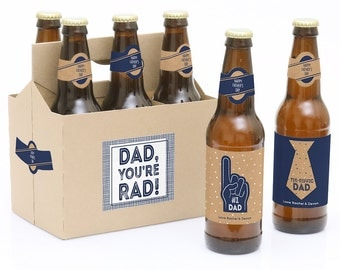 Father's Day Beer Bottle Labels - 6 Beer Bottle Labels & 1 Carrier - My Dad is Rad Father's Day Gifts - Personalized Father's Day Present