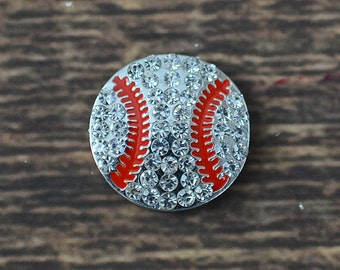 "0.75"" Rhinestone Baseball Embellishment, Embellishments for Hairbows, DIY Craft Supplies, Flatbacks ONE Baseball"