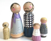 Custom family of 5 // 2 parents // 3 kids or pets // personalized peg dolls // modern doll house // custom family portrait // wooden toys