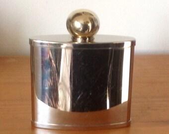 Small Vintage Hip Flask.Livingstone London 2oz Silver Metal Flask. 1970's.