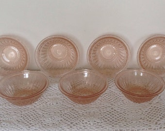 Art Deco Pink Glass Bowls. Set of 7. 1930's.