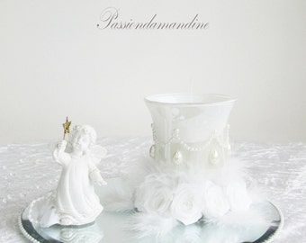 Tealight holder table with Angel decoration