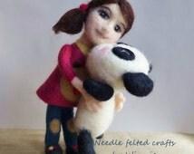 Samantha doll and her panda Needle felted handmade wool OOAK doll
