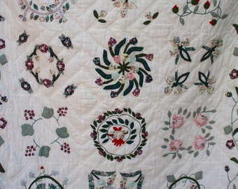 Floral Quilt - Hand Stitched and Quilted Wall Hanging - Flowers and Birds