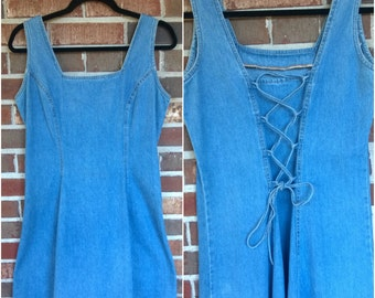 Flirty 90s Lace Up Back Denim Skater Dress, 9 M