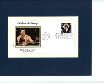 Heavyweight Champ Rocky Marciano & First Day Cover of his own stamp