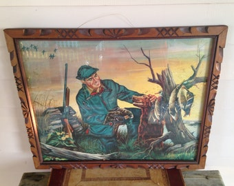 Duck Hunting Print  Tramp Art Frame