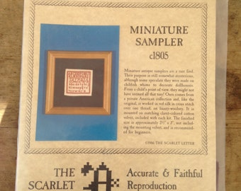 Counted Cross Stitch Sampler Kit by The Scarlet Letter  Miniature Sampler c1805/1986