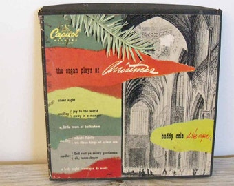 The Organ Plays at Christmas Buddy Cole Vintage Christmas Songs Capitol Records Hollywood 45 RPM Boxed 3 Record Set 1950s CCF-9002
