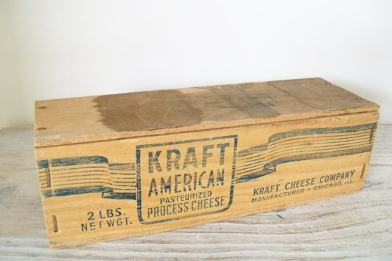 Vintage Wooden Box Kraft American Processed Cheese Pasteurized