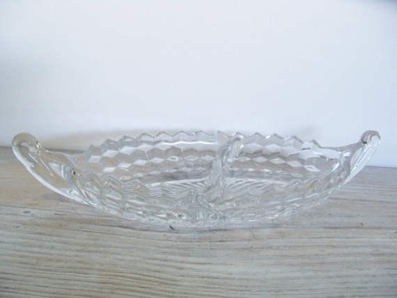 Vintage Fostoria American Crystal Glass Double Divided Relish Vegetable Candy Nut Dish 1960s