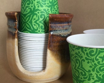Dixie Cup Holder Bathroom Cup Holder Disposable Cup Dispenser Paper Cup Holder Ceramic in Bone and Waterfall Brown